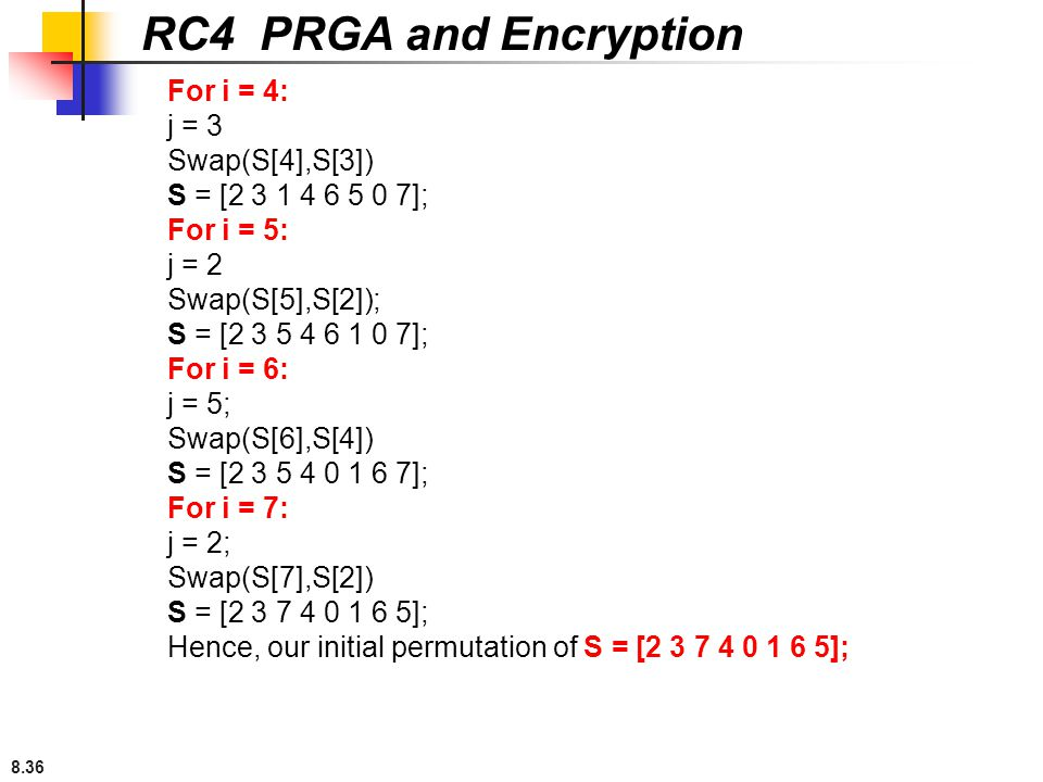 RC4 PRGA and Encryption For i = 4: j = 3 Swap(S[4],S[3])